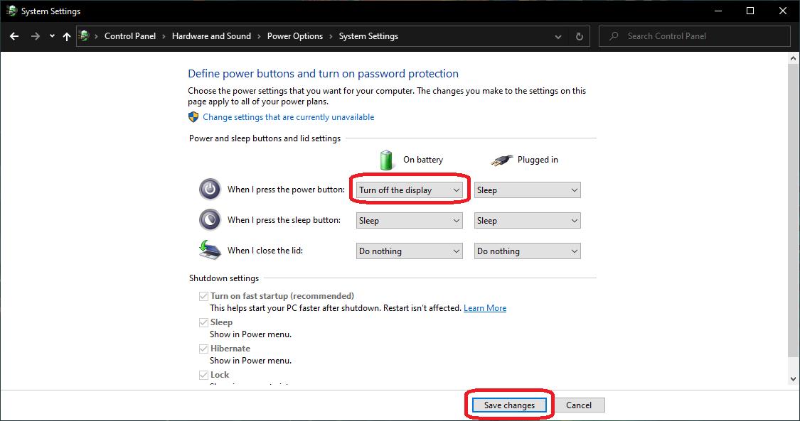 reprogram the power button windows 10