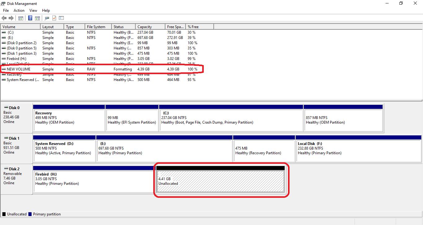 set up Multiple Partitions Flash Drive windows 10
