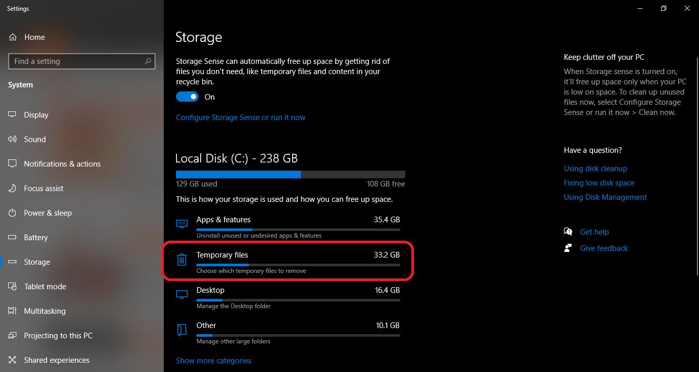 free up space on Windows 10 hard drive