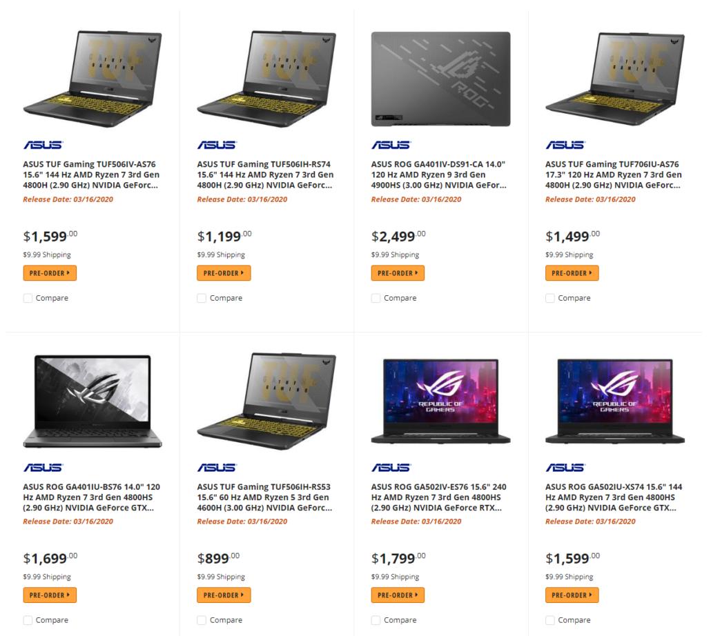 AMD Ryzen 4000 'Renoir' CPU gaming notebook lineup from ASUS. (Source: Momomo_Us)