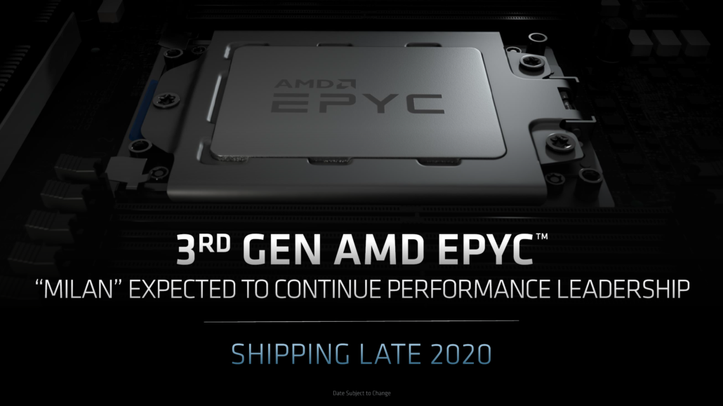 AMD Zen 3 Based EPYC Milan CPUs Ship in Late 2020