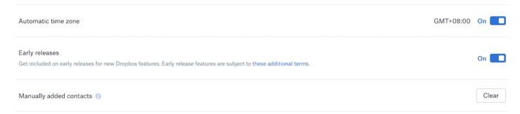Dropbox Account Settings