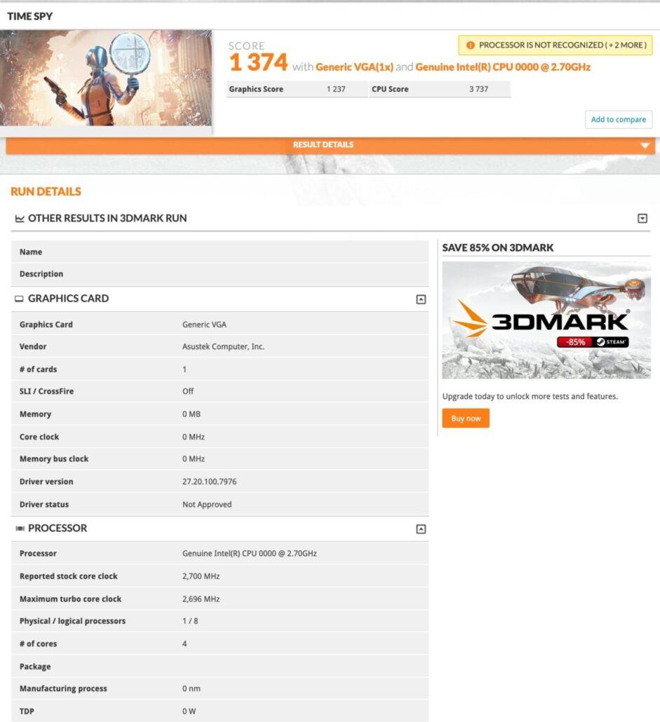 Intel 10nm Tiger Lake-U CPU With Xe Graphics Performance Benchmark_3DMark Time Spy