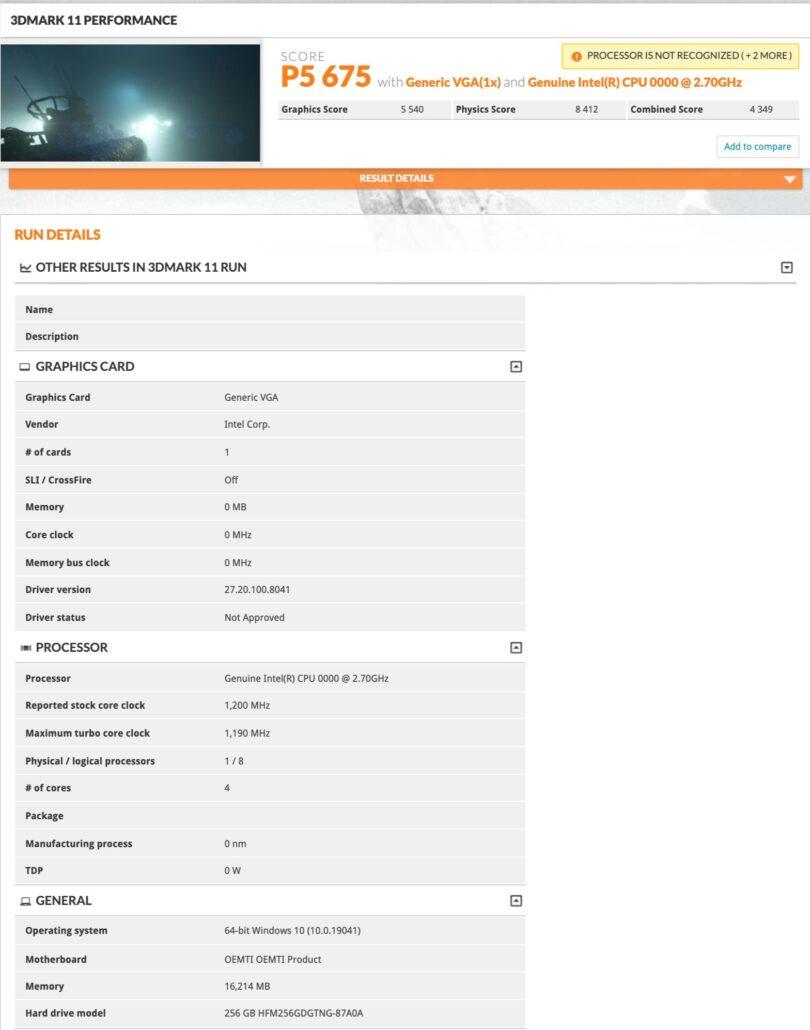 Intel 10nm Tiger Lake-U CPU With Xe Graphics Performance Benchmark_3DMark 11