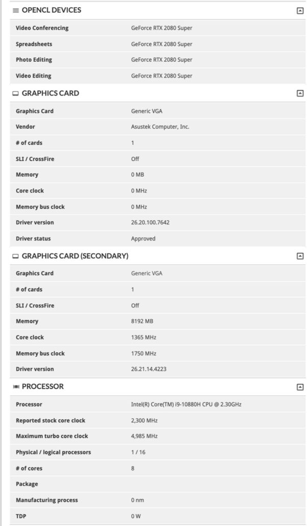 Intel Core i9-10880H 8 Core Comet Lake-H CPU & NVIDIA GeForce RTX 2080 SUPER Notebook GPU