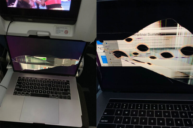 MacBook Pro Display Gets Destroyed After Person Sitting in Front Reclines Airline Seat