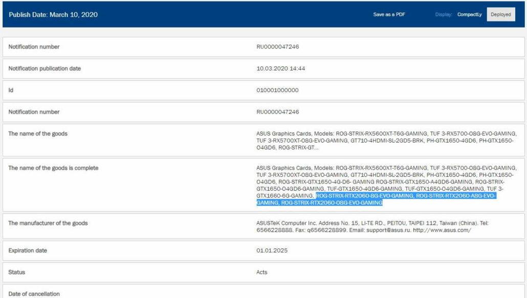NVIDIA GeForce RTX 2060 8 GB Graphics Card EEC Listing