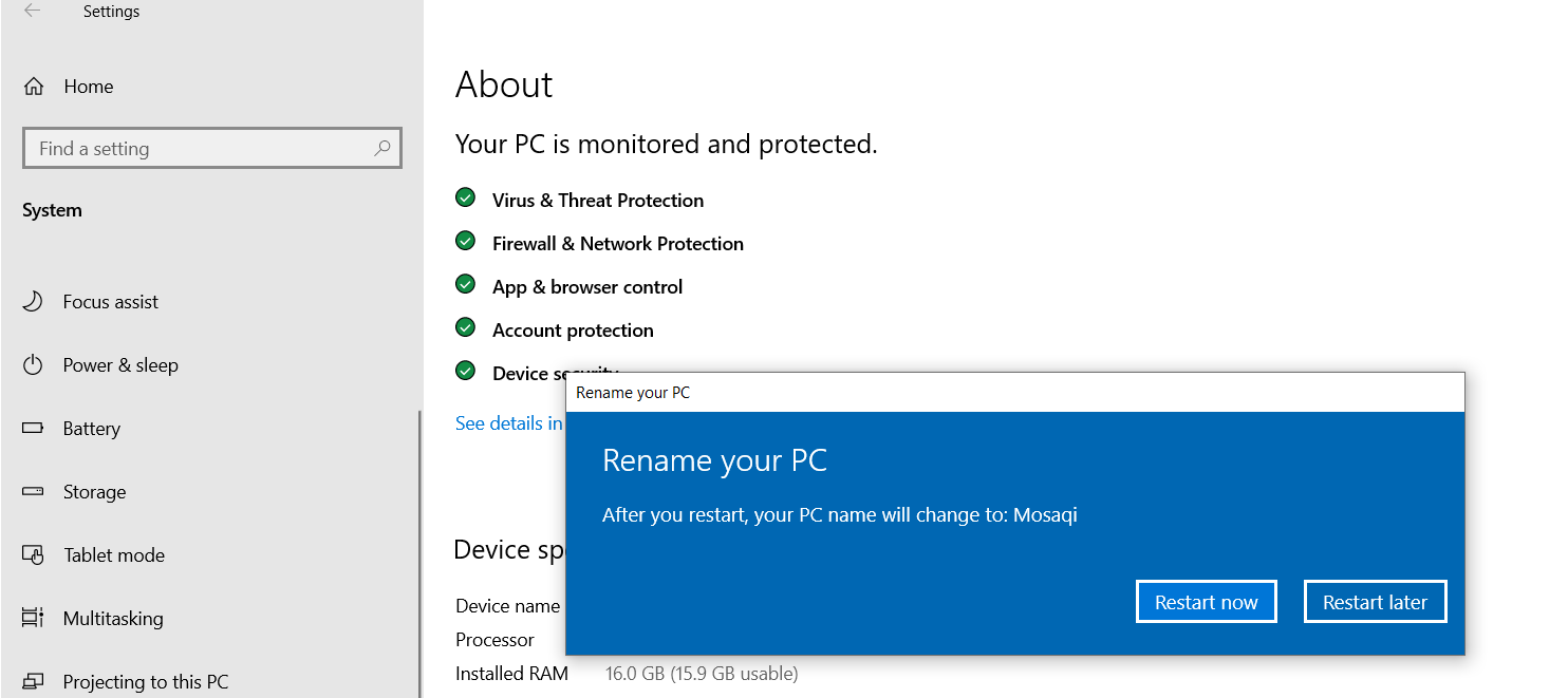 rename Windows 10 computer