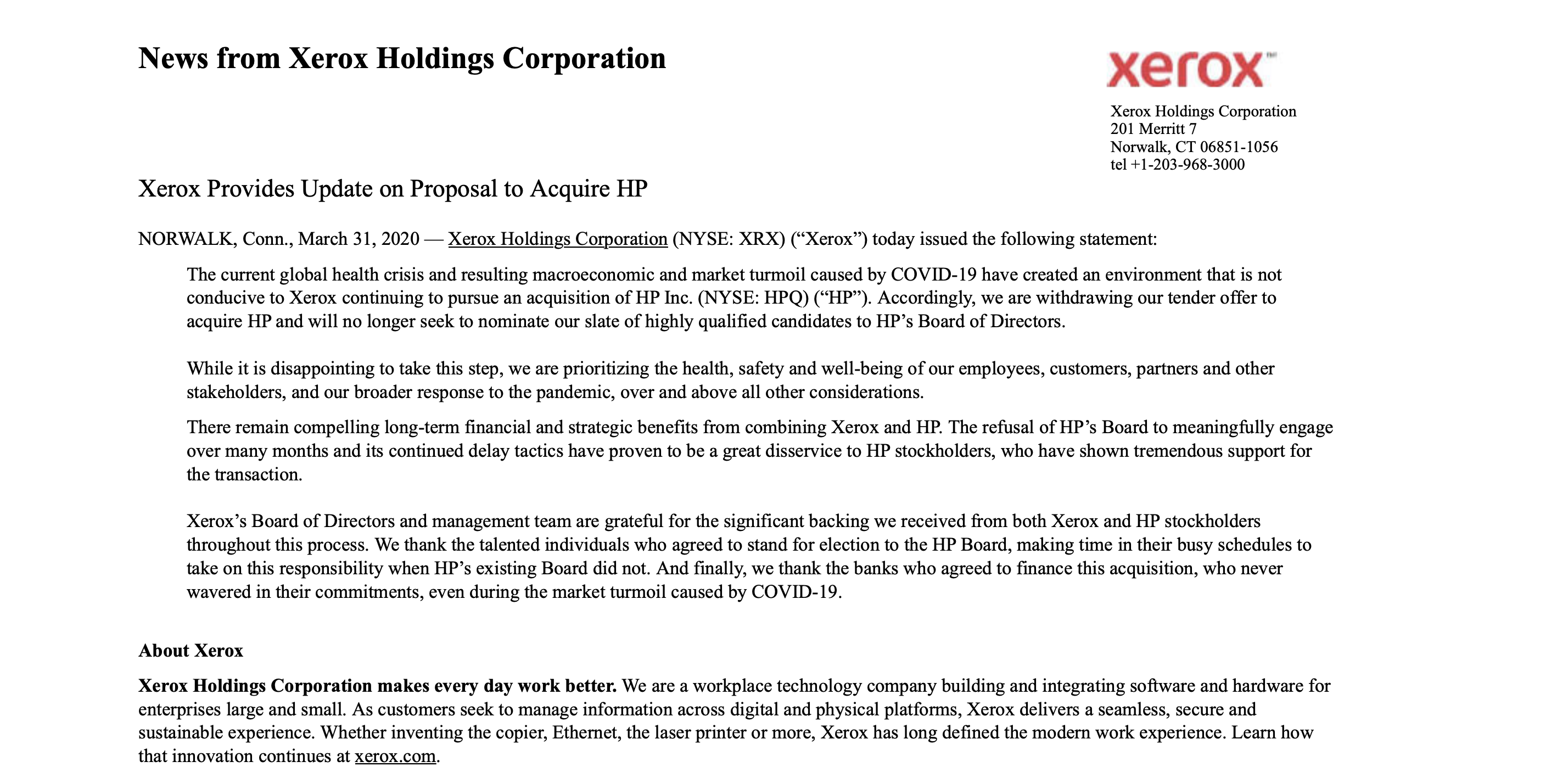 Xerox Holding Corporation withdraws HP tender offer