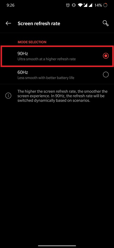 Adjust Refresh Rate OnePlus 8