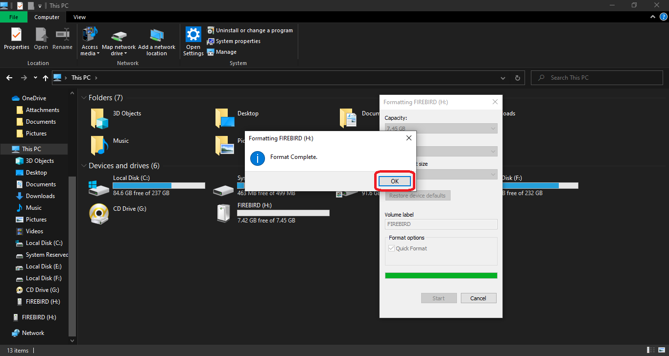 Formatting a drive to NTFS system in Windows 10