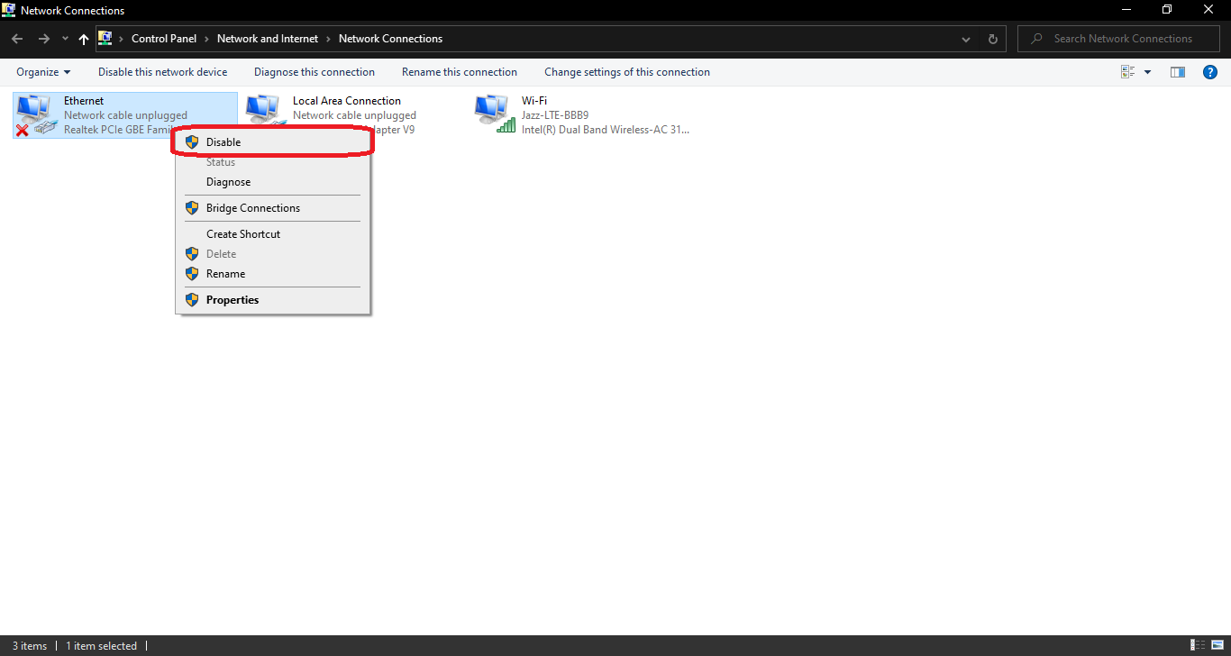 Enable or Disable Network Adapters in Windows 10