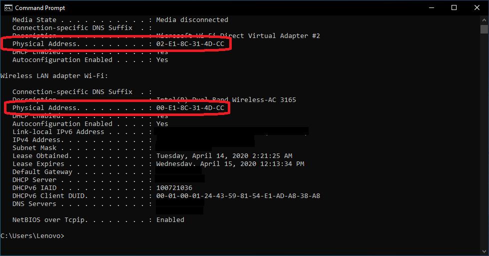 Find the MAC address of Windows 10 PC