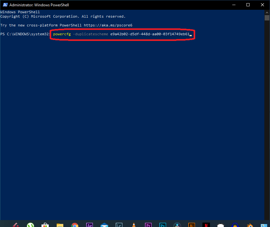 turn on ultimate performance power plan using PowerShell on Windows 10