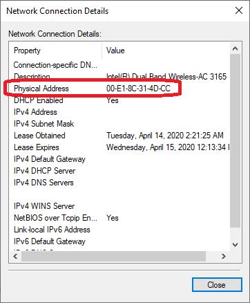 : MAC address on Windows 10