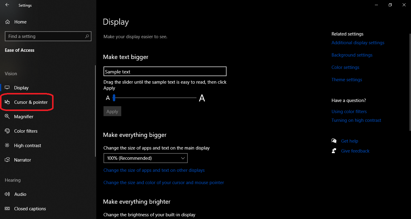 How to increase Pointer Size on Windows 10