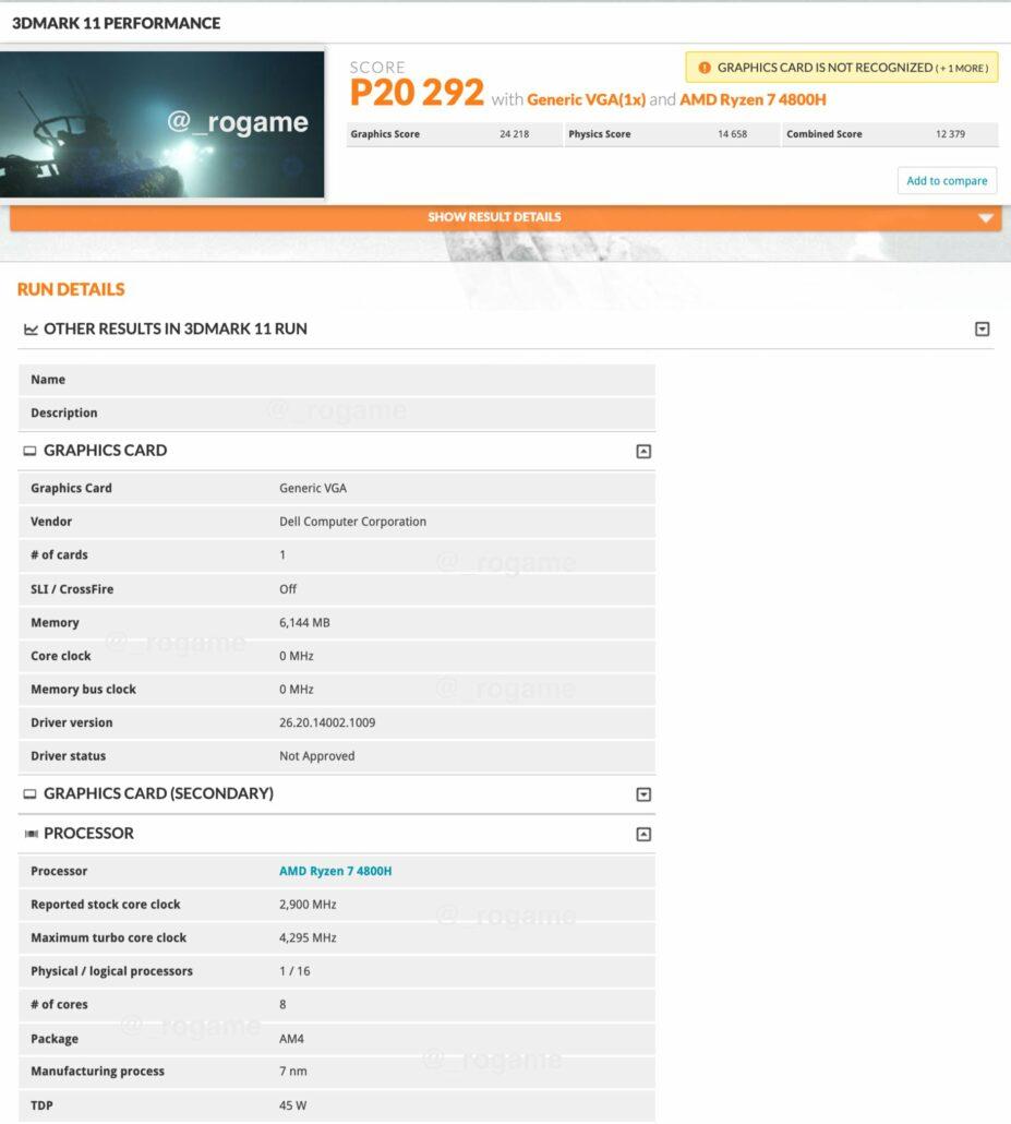 AMD Radeon RX 5600M Notebook GPU_Dell G5 SE With Ryzen 7 4800H CPU