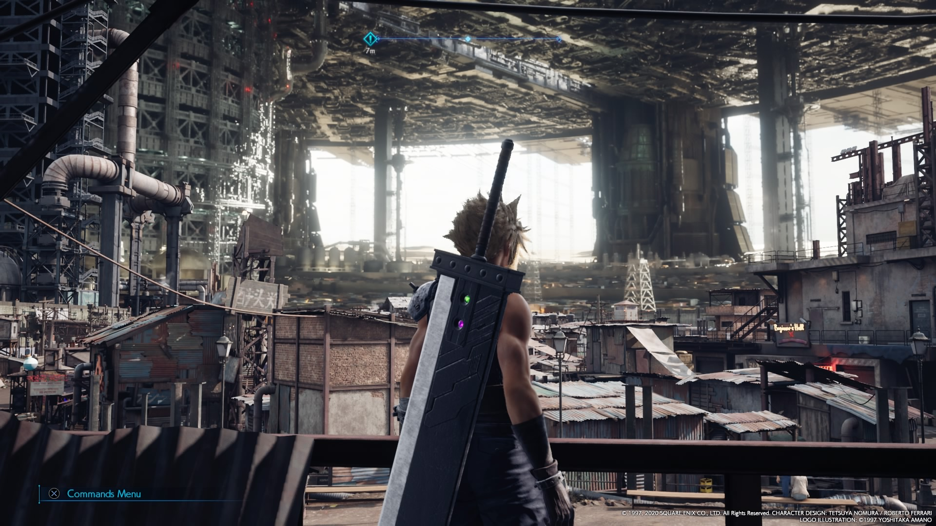 "Screenshot from Final Fantasy VII Remake. Cloud overlooks the Sector 7 slums, seeing the ""great pizza"" that is the upper city plates."