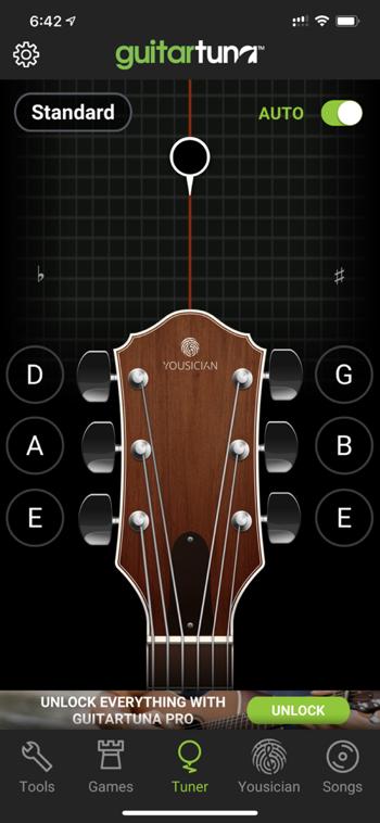 GuitarTuna main interface