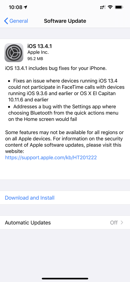 iOS 13.4.1 / iPadOS 13.4.1 changelog