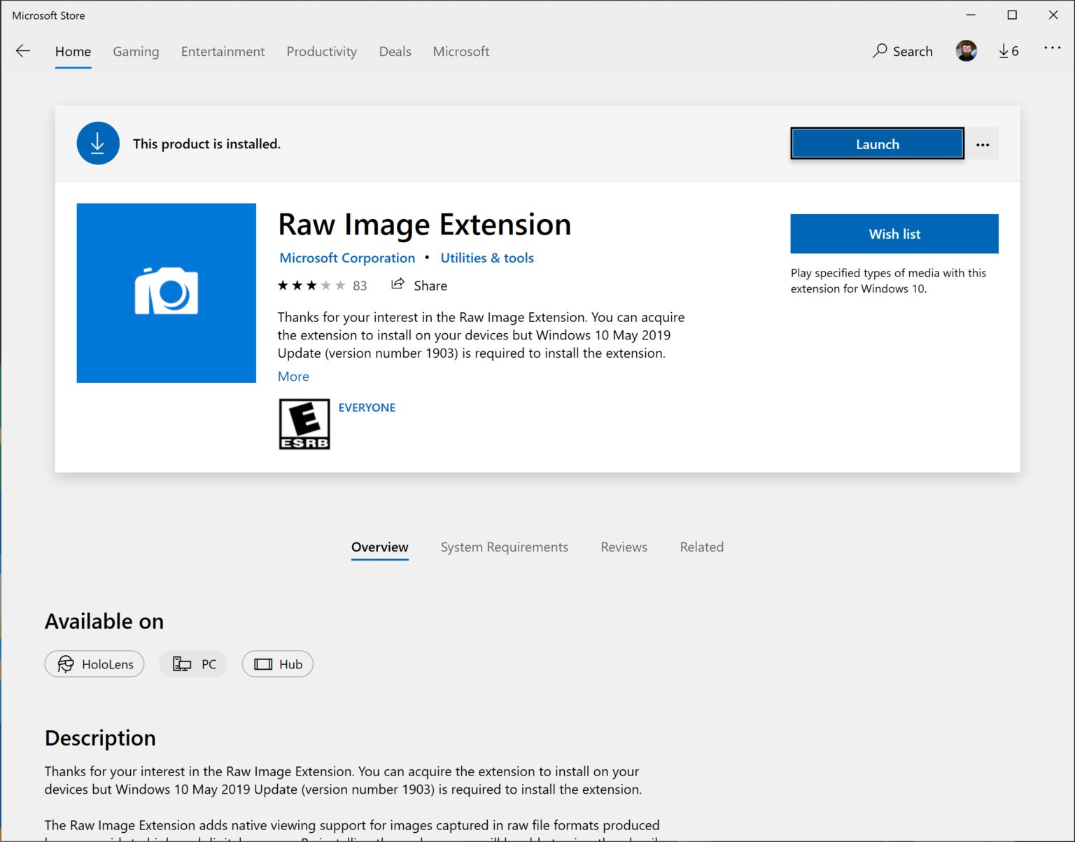 windows 10 raw image extension