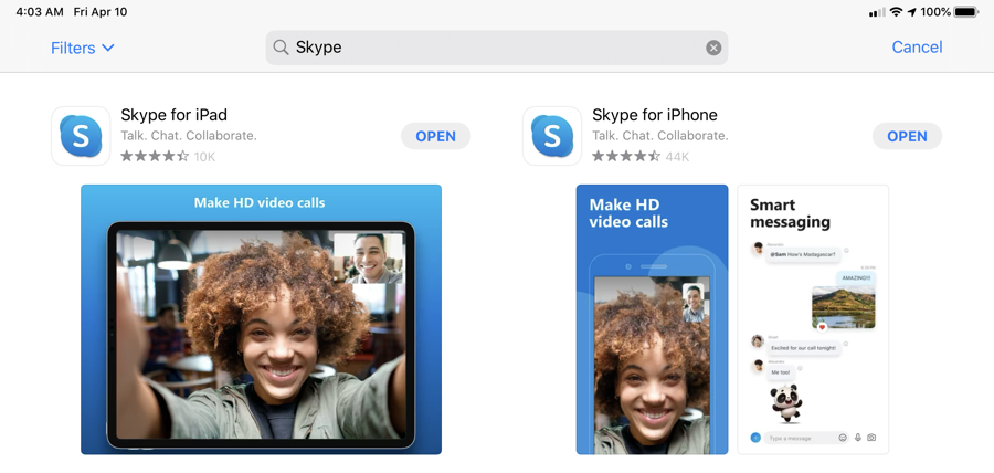 Search for Skype on App Store on your iPad / iPad Pro