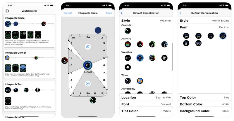 Watchsmith app running on iPhone