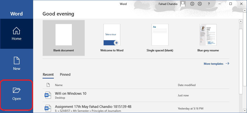 : Lost Files in Microsoft Word on Windows 10