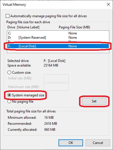 Moving Virtual Memory on Windows 10