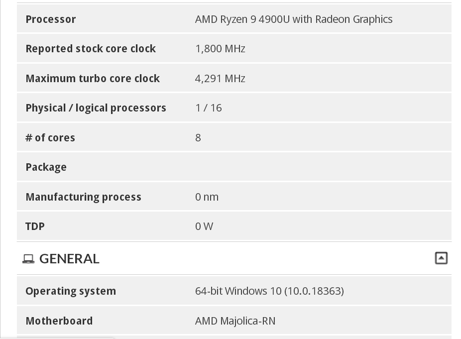 AMD Ryzen 9 4900U 8 Core & 16 Thread Renoir CPU