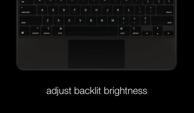 Adjust iPad Pro Magic Keyboard backlit brightness