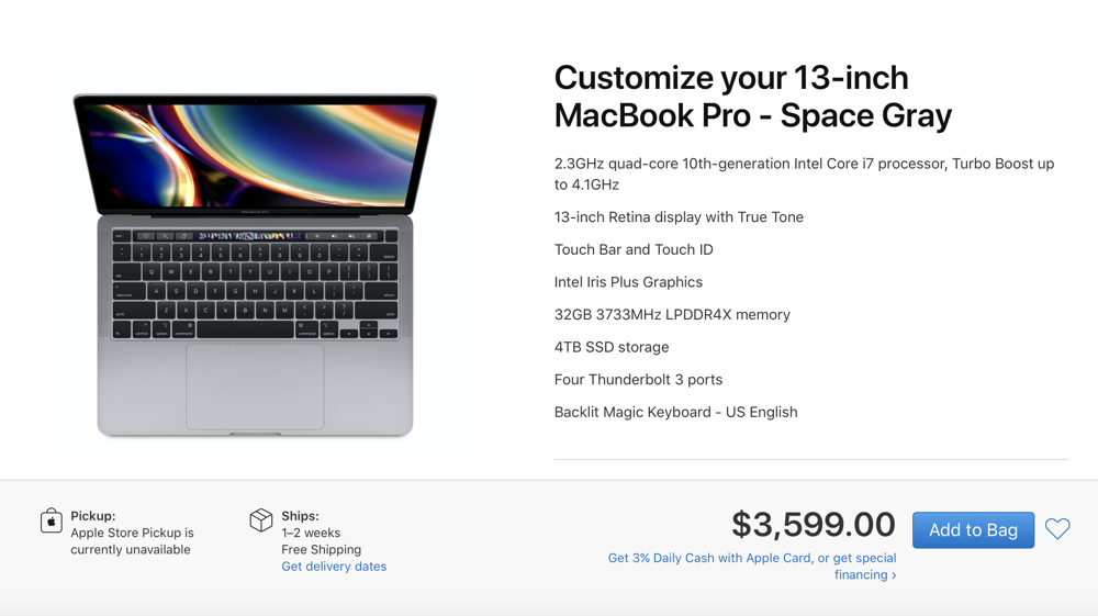 Maxed out 13-inch 2020 MacBook Pro