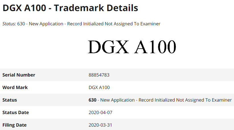 A picture of the NVIDIA DGX A100 trademark.