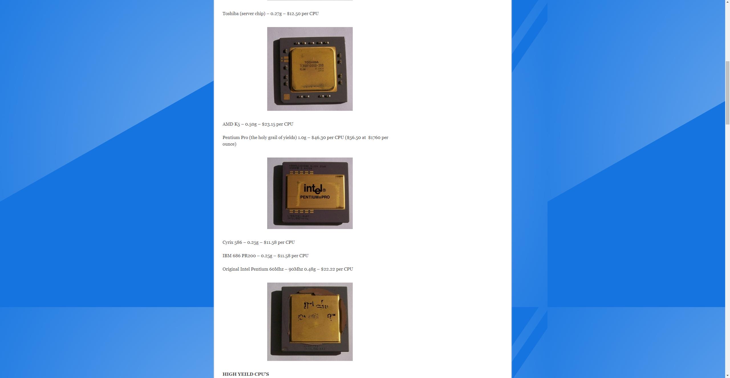 OzCopper CPU Gold Content List