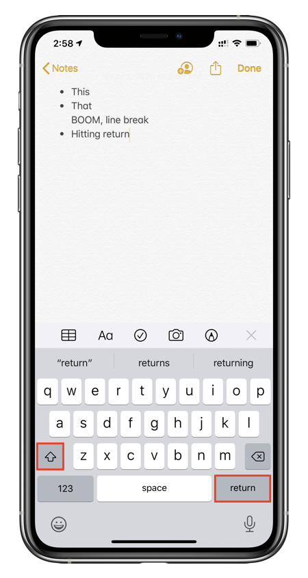 Hold down 'Shift' + 'Return' on iOS / iPadOS keyboard to add line break