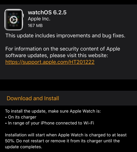 watchOS 6.2.5 changelog