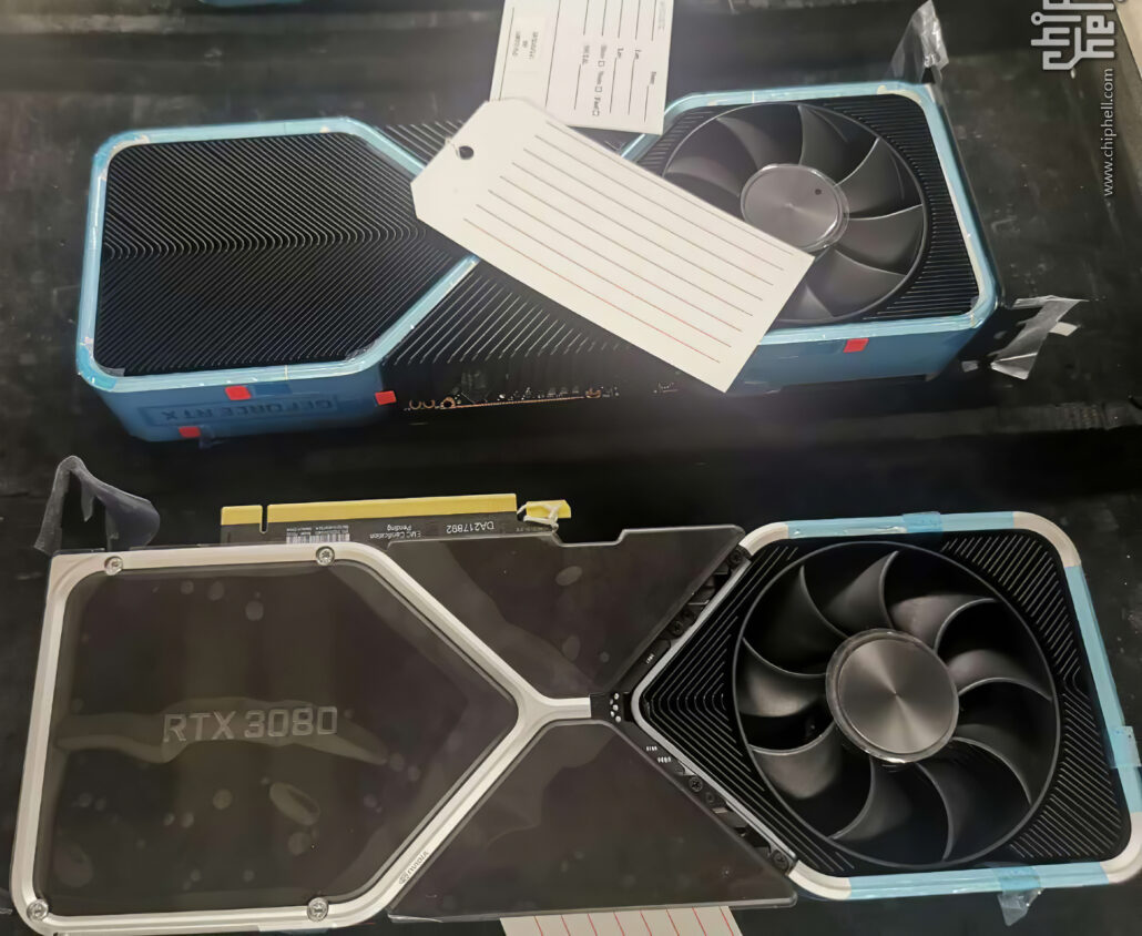 NVIDIA GeForce RTX 3080 leaked coolers feature a 2-slot design and a smaller design footprint than the 3-slot GeForce RTX 3090 flagship.
