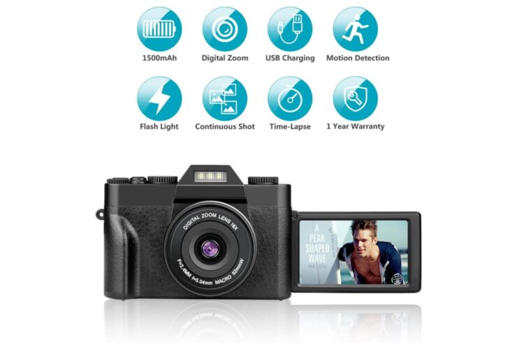 Vlogging camera with flip out LCD available with 50% discount