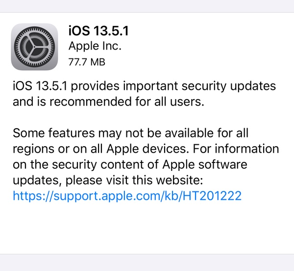 iOS 13.5.1 / iPadOS 13.5.1 changelog