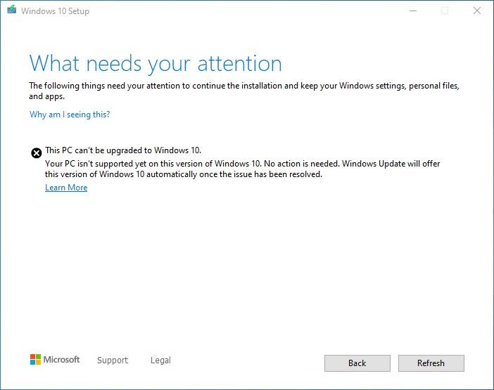 windows 10 version 2004 bug