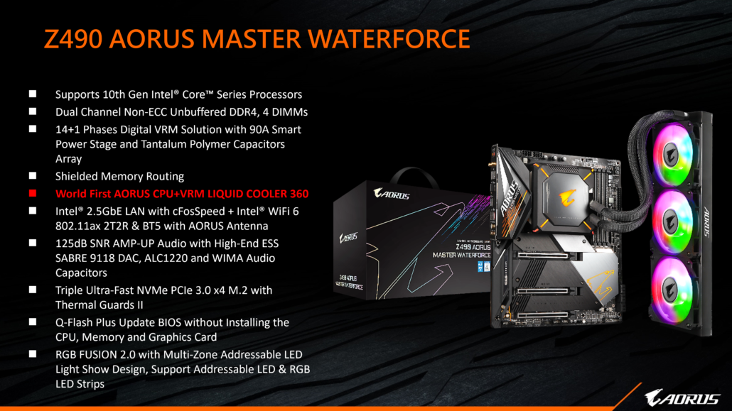 Gigabyte Z490 AORUS Master Waterforce Motherboard Official Features