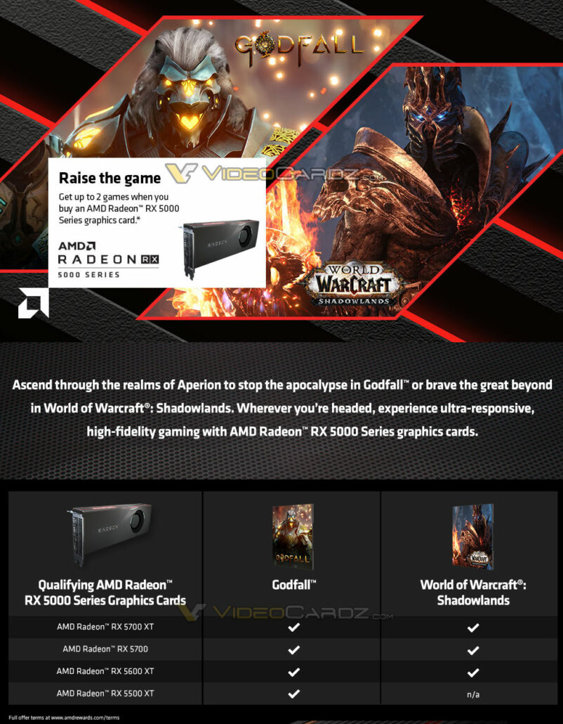 AMD Radeon RX 5000 Series Graphics Cards Raise The Game Bundle_Godfall_WoW Shadowlands