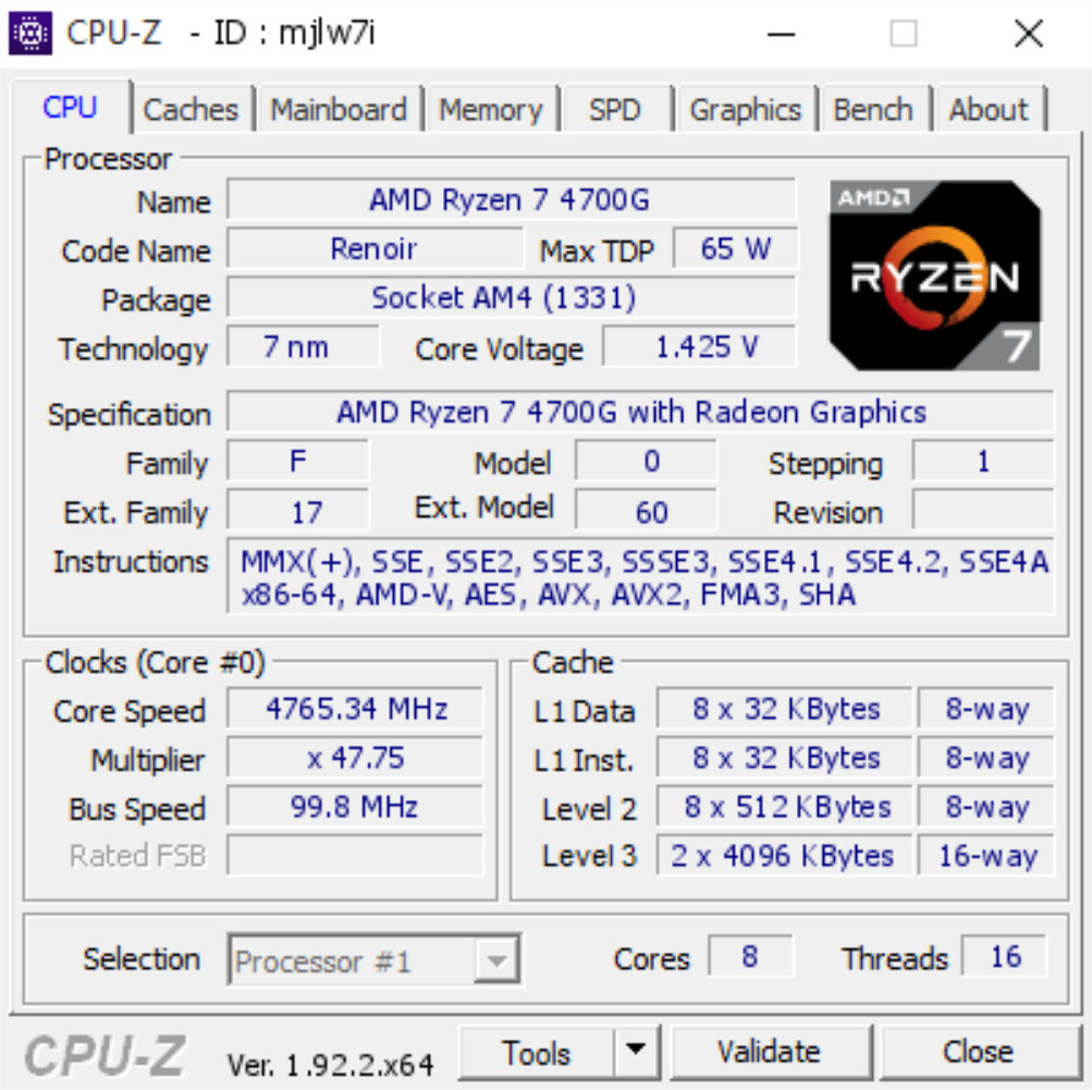 AMD Ryzen 7 4700G 8 Core Renoir APU 4.75 GHz Overclock