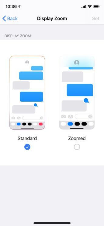 Display Zoom iPhone X iOS 14
