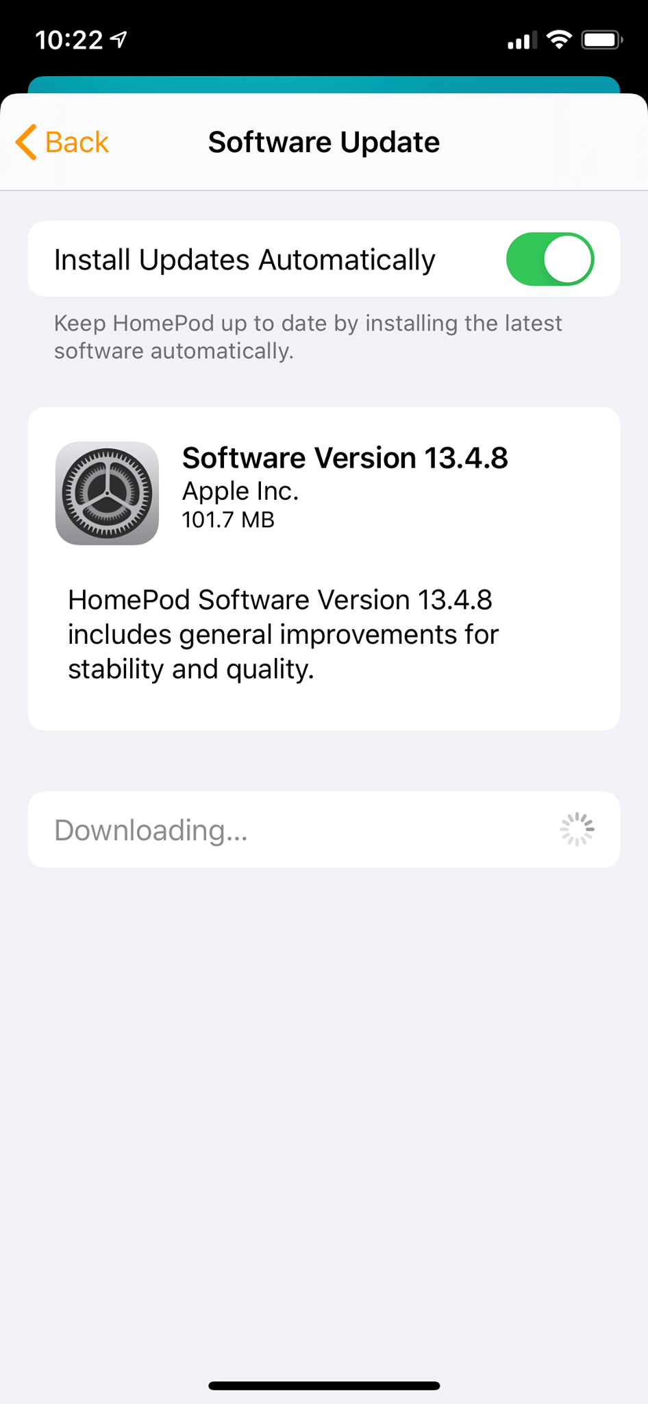 HomePod Software Version 13.4.8