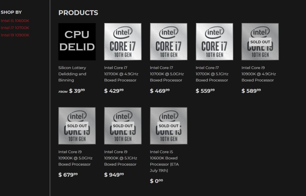 Intel 10th Gen Core i9-10900K & Core i7-10700K Pre-Binned CPUs at Silicon Lottery