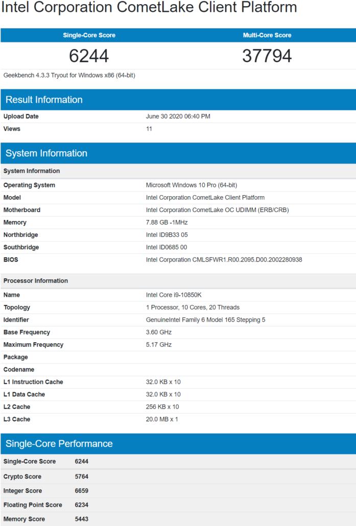 Intel Core i9-10850K 10 Core Desktop CPU Leak