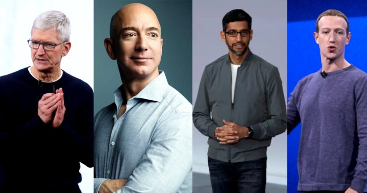 Tim Cook Jeff Bezos Sunder Pichai Mark Zuckerberg