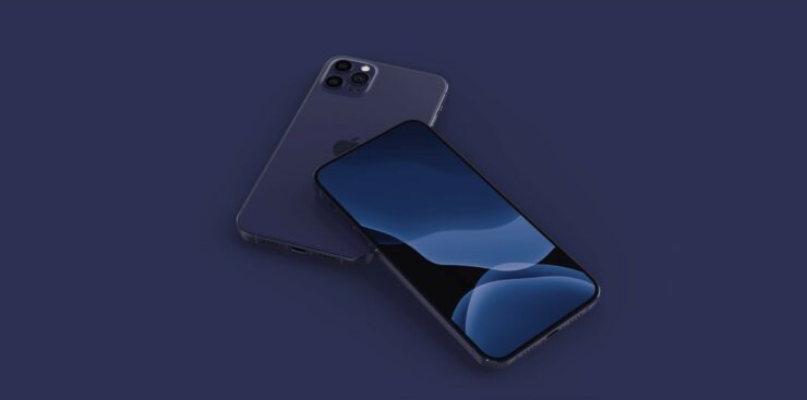 iPhone 12 Max With iPad Pro Design, 44mm Apple Watch Series 6 Both in Navy Blue Shown in Detailed Concept