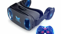 3D VR Headset with Built-In Stereo Headphone